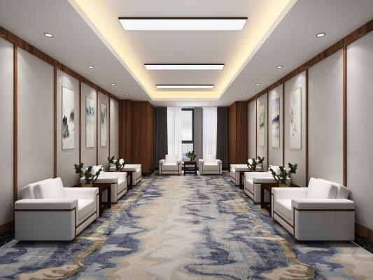 新中式接待室 挂画 沙发