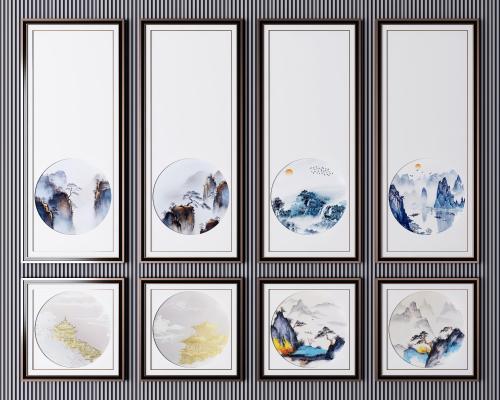新中式山水装饰画 山水画 风景画 国画山水画