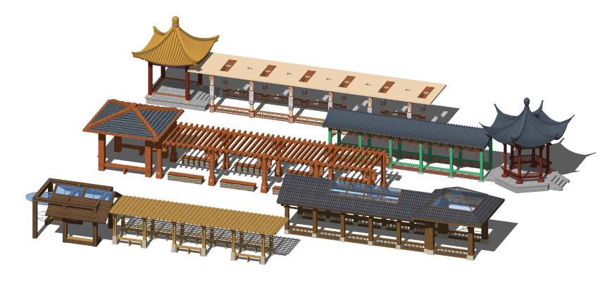 中式廊架 古建廊架 古建长廊