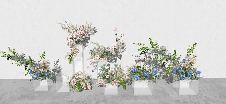 现代风格婚庆花瓶花艺 花草花卉装饰摆件 装饰品