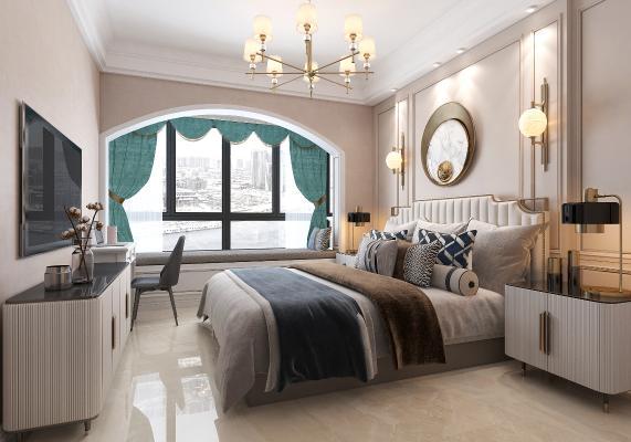 美式卧室 轻奢 床柜