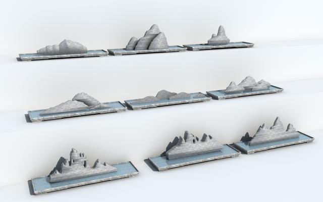 新中式石头景观 盆景 摆件