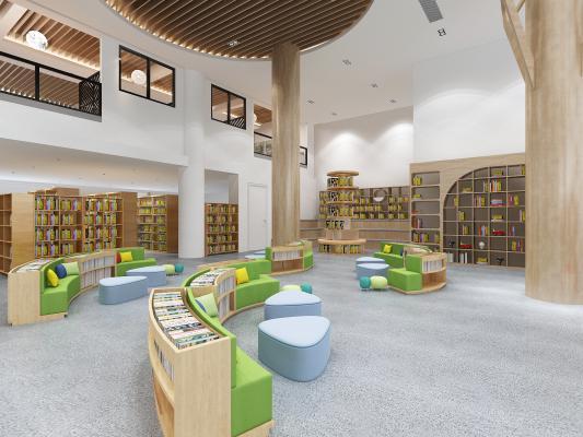现代风格图书馆 书吧区 阅读区 展示柜