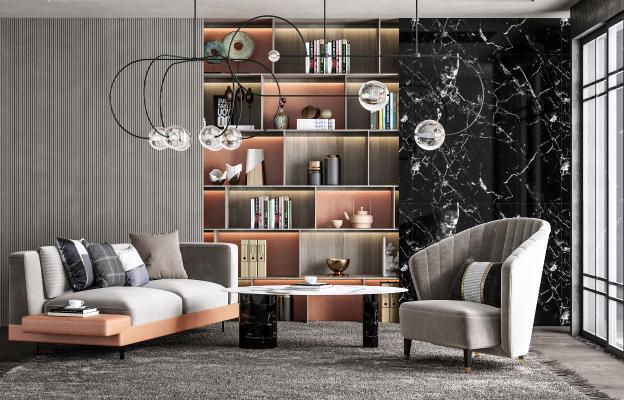 现代书房 会客室 沙发单椅 书柜