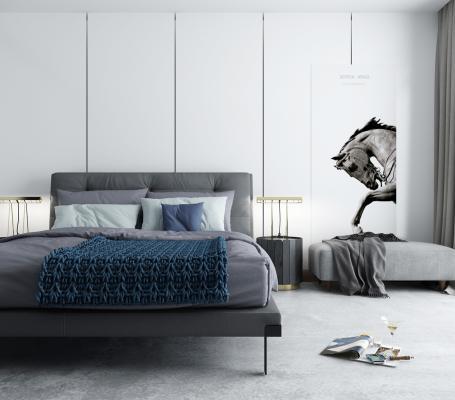 北欧卧室 主卧 双人床