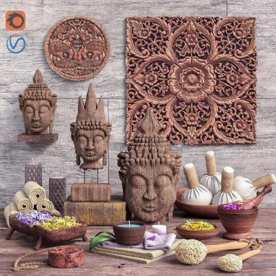 东南亚佛像雕塑 陈设品 摆件组合