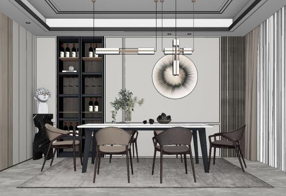 现代餐厅 餐桌椅组合 摆柜 吊灯