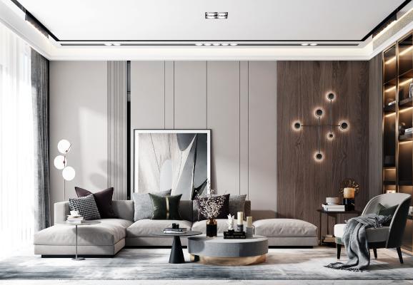 现代风格客厅 沙发组合 茶几