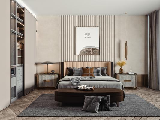 现代主卧室 双人床品组合 衣柜