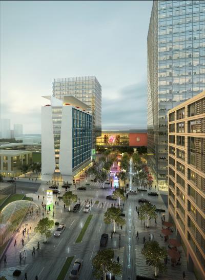 现代城市街道鸟瞰