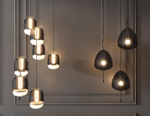 現代金屬玻璃吊燈組合
