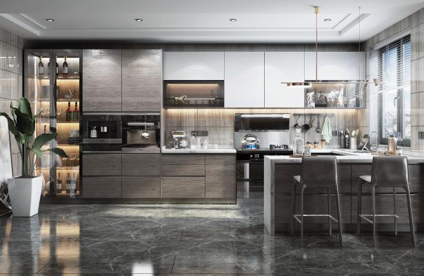 现代风格厨房 橱柜 吧台椅
