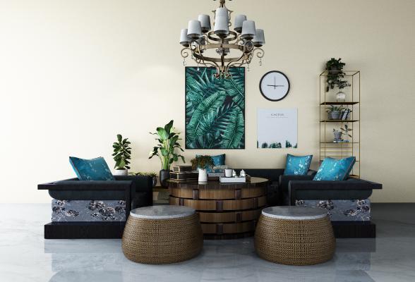 东南亚沙发茶几 组合沙发
