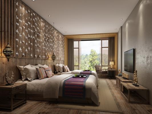 东南亚酒店客房 双人房 电视柜 床头柜 吊灯 书桌椅组合