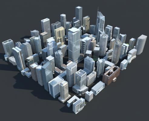 现代城市配楼组合