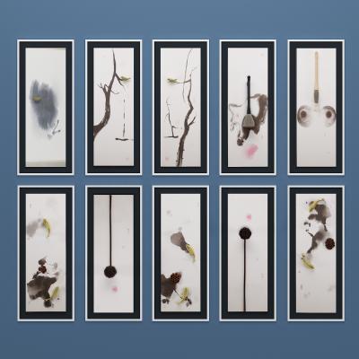 现代新中式立体小鸟毛笔莲蓬挂画