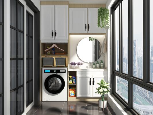 现代简约洗衣机阳台柜