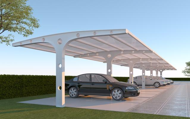 现代风格公用器材 膜结构停车棚