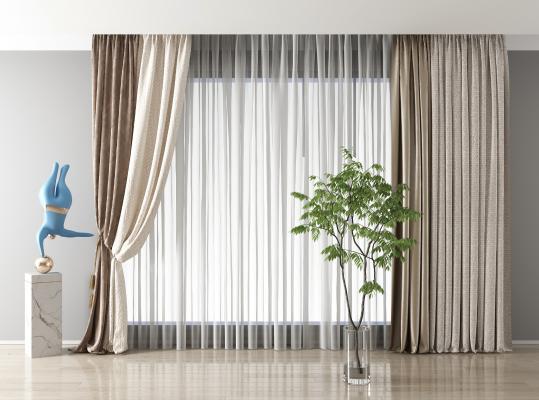 现代布艺窗帘组合