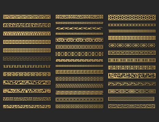 新中式花格 线条 墙面装饰