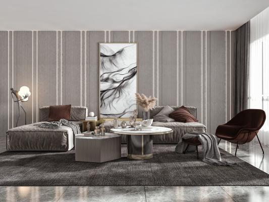 现代卧室 多人沙发 转角沙发