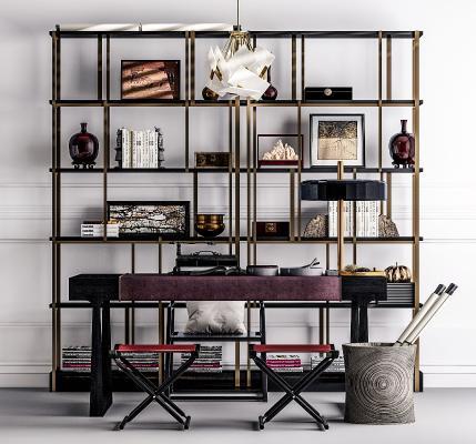 中式书桌椅 书架组合