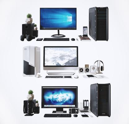 现代台式电脑 耳机 音响