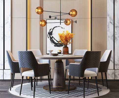 現代輕奢餐桌餐椅組合