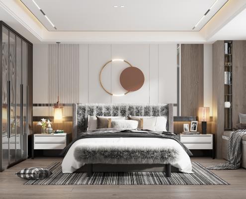 現代臥室 床品 吊燈 椅子 化妝臺 床位凳 臺燈 衣柜