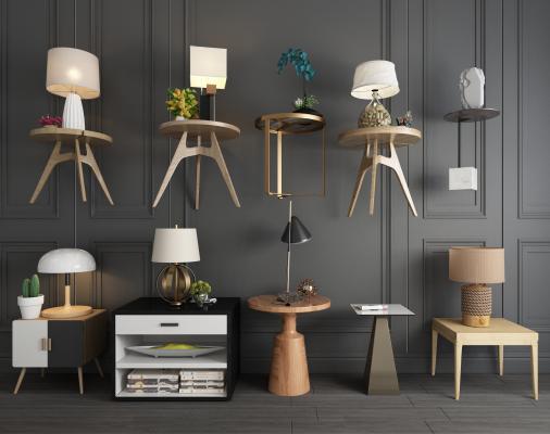 现代简约床头柜台灯沙发边几组合 北欧床头柜 北欧边几