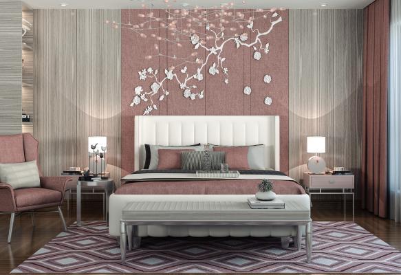 现代卧室 女孩房 双人床