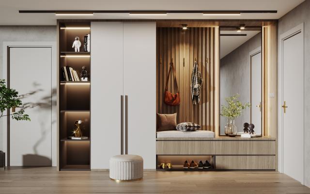 现代鞋柜组合 衣柜 书柜