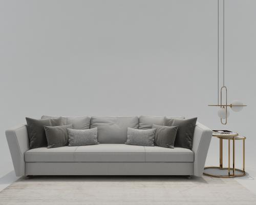 现代三人沙发 圆几 吊灯 摆件组合