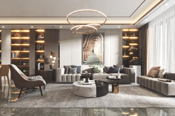 现代客厅 餐厅 沙发 餐桌 电视柜 吊灯 装饰画