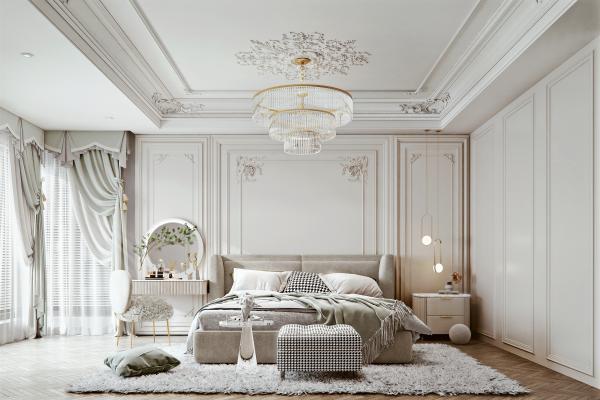 法式家居卧室 布艺双人床 梳妆台