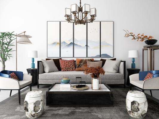 新中式沙發茶幾 裝飾畫 吊燈組合