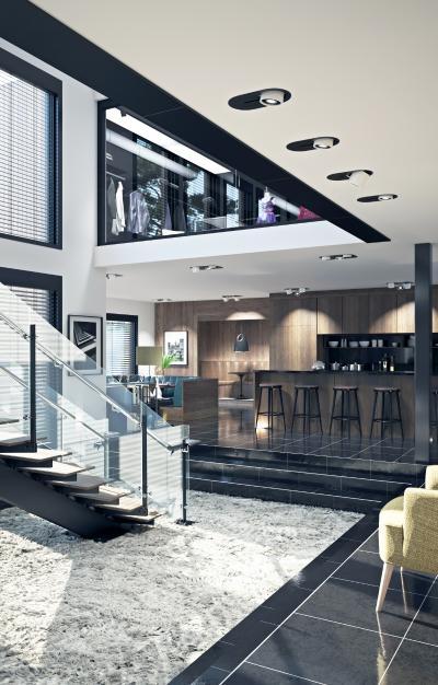 现代复式客厅楼梯间