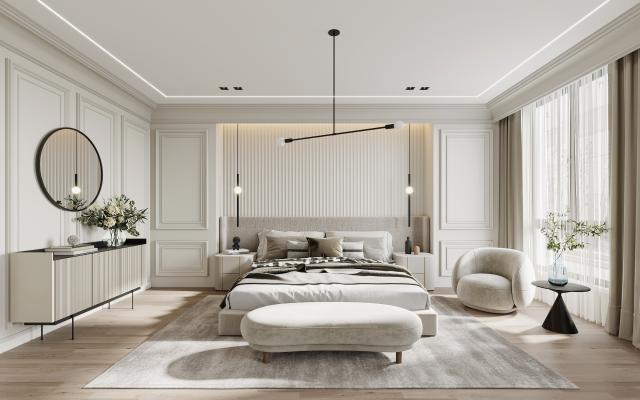 现代卧室 双人床 沙发