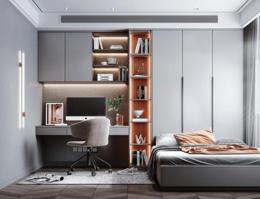 现代风格榻榻米卧室 书桌 书柜