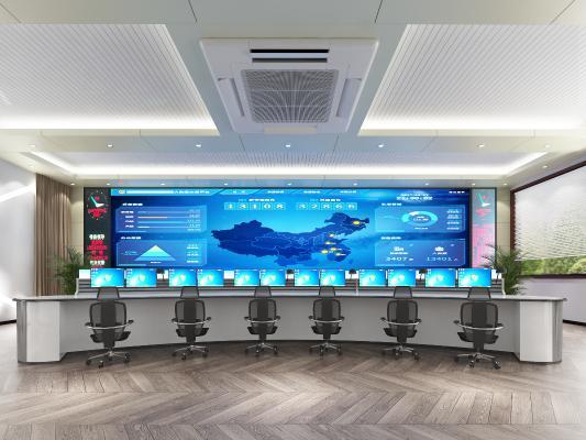 现代风格监控室 调控大厅