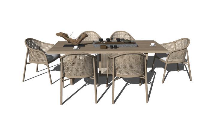 新中式休闲桌椅 藤编休闲椅 茶桌茶具