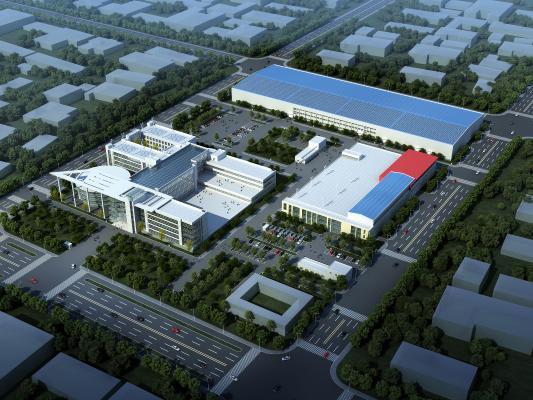 现代工业区厂房鸟瞰 规划 户外