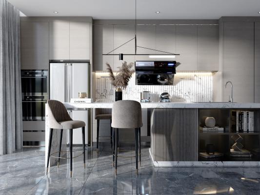 现代吧台 吧台椅 厨柜 吊柜 吊灯 冰箱 抽烟机 装饰品