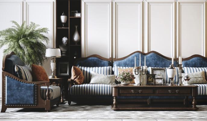 美式沙发组合 茶几组合