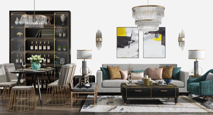 现代沙发茶几餐桌椅组合
