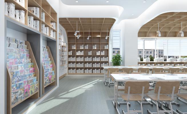 现代风格图书馆 阅览室