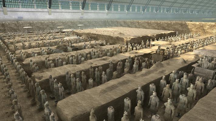 中式兵马俑 古代 古建