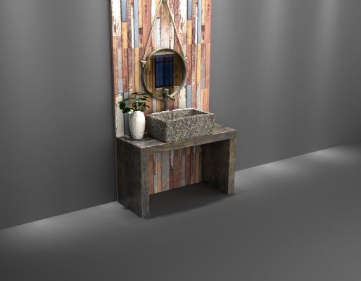 现代石槽洗手盆 石头洗手台