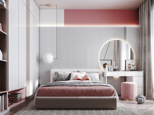 现代风格女孩房 床 衣柜