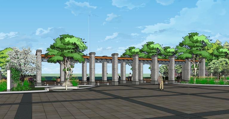 中式公园景观 广场景观 园林小品